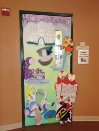 Door decoration with an Alice in Wonderland theme. This ...
