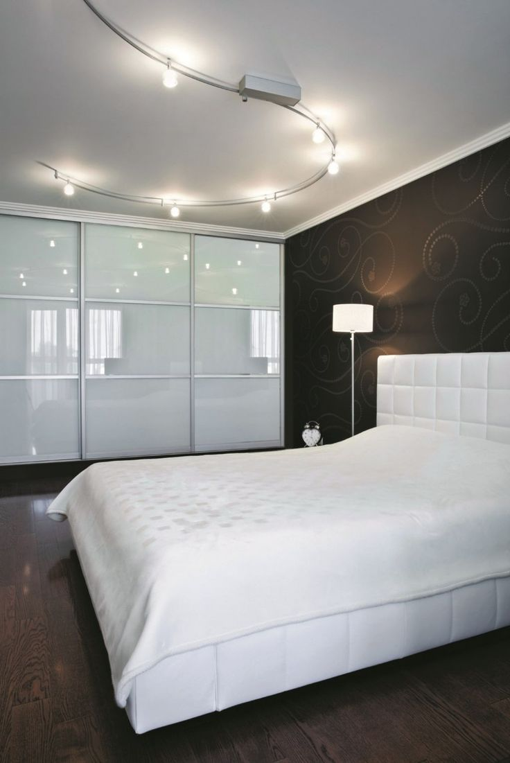 Minimalist Modern Bedroom With Track Lighting Fixtures