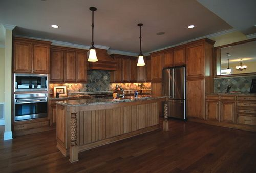 kitchen island back panel serving cart stained beadboard cabinet   wood cabinets ...