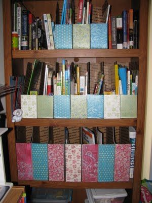Were loving our DIY magazine files for book storage and