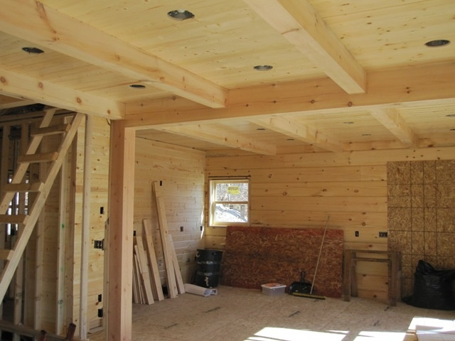 Pine Ceiling With Pine Beams Texas Barndominium Ideas