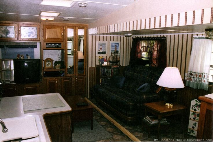 Our remodeled RV living room in a 5th wheel travel trailer