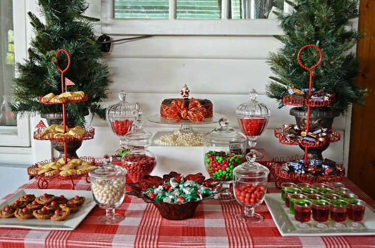 Red And White Christmas Dessert Buffet Candy Jarsred