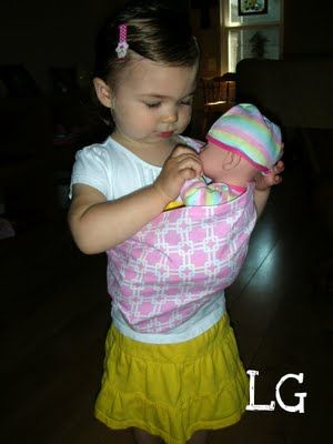 A doll sling just like Mommy's!  I made one for my 2-year-old granddaughter.  It was so easy!