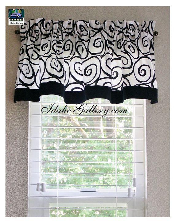 Black And White Ironworks Window Valance Kitchen Curtain