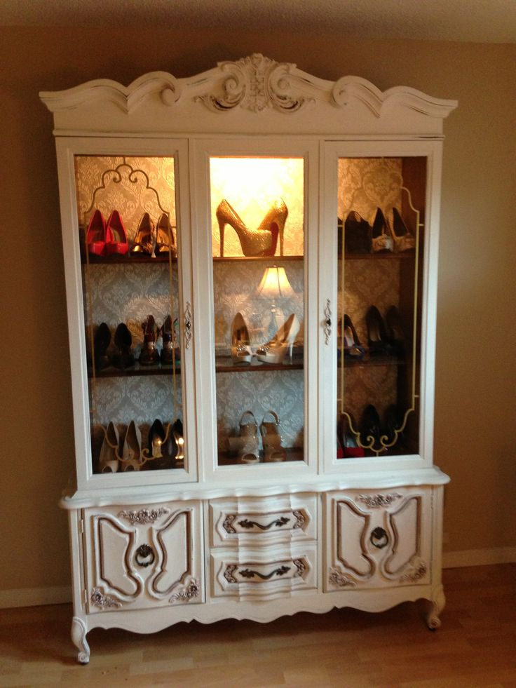Repurposed a china cabinet into a shoe display! Cost me