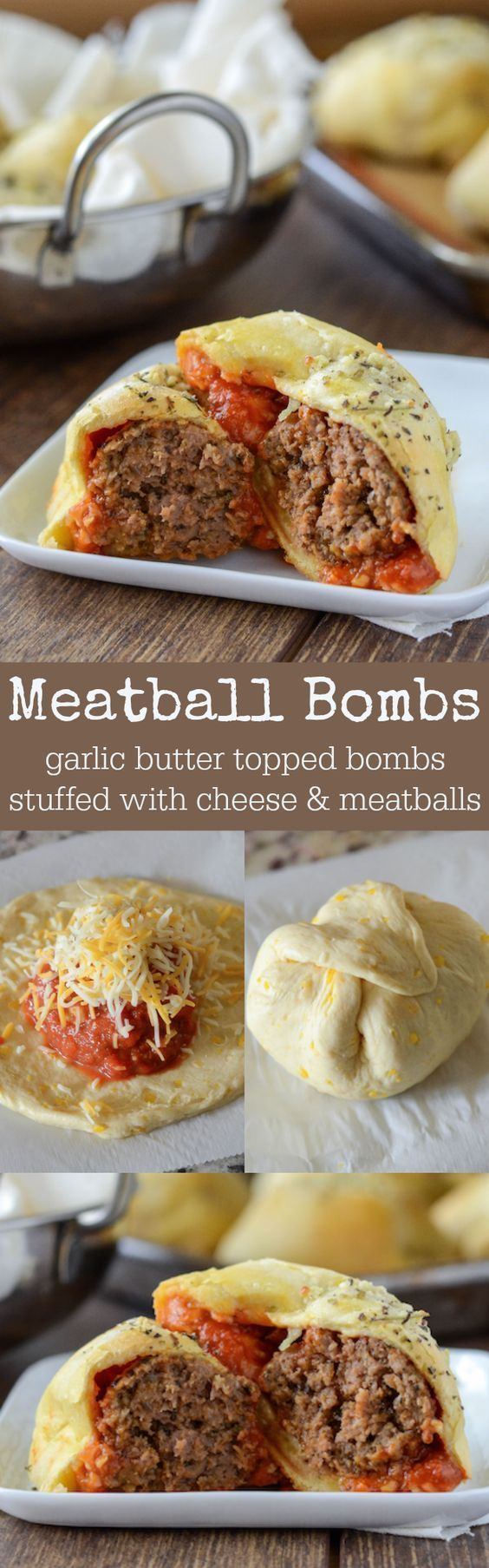Meatball Bombs – garlic butter topped meatball & cheese stuffed bombs!