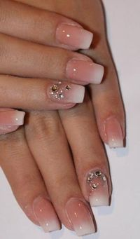 Love this simple nail design with rhinestones for a touch ...