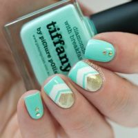 25+ best ideas about Mint chevron nails on Pinterest