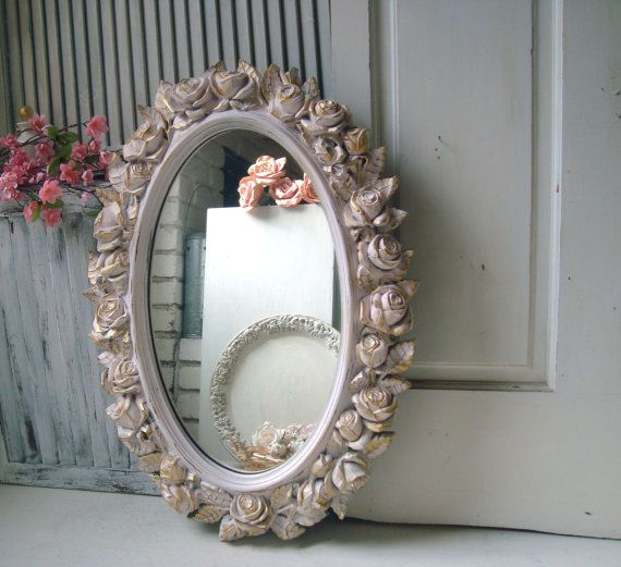 Pink Vintage Rose Mirror Oval HOMCO Floral Ornate Mirror Large Mirror Shabby Chic Pink