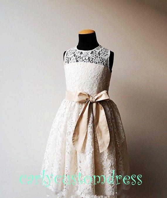 Champagne Sash Ivory Lace Flower Girl DressWedding Baby