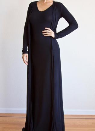 Lynn Jersey Floor Length Open Cardigan  Black Outerwear