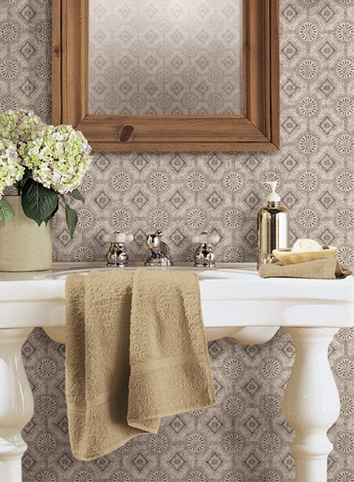 Rustic Bathroom Country Keepsakes Punched Tin Wallpaper