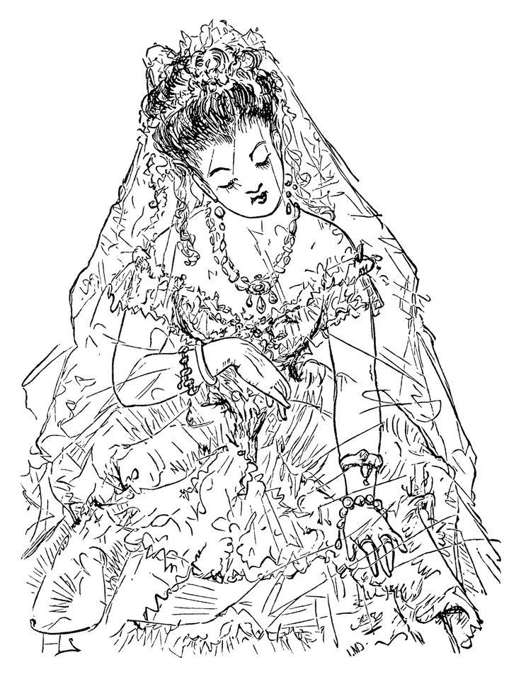 victorian bride clip art, free black and white clipart