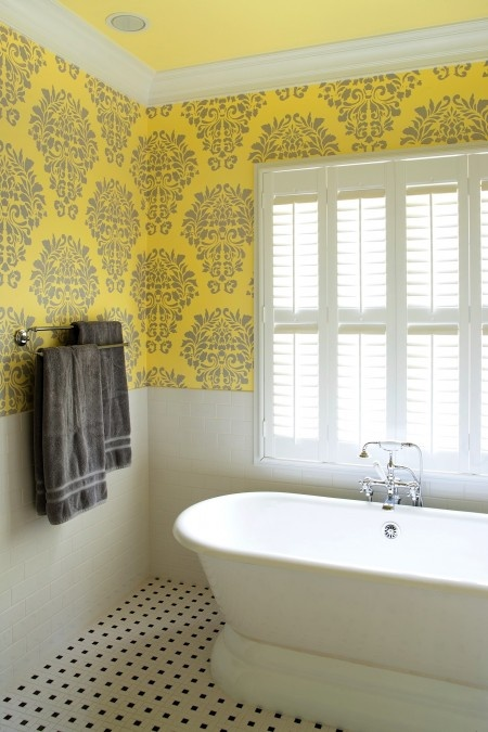 Fabric damask wall stencil project by Maggie ONeill Fine