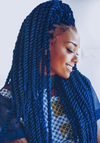 Blue Black Hair Box Braids | blue color kanekalon jumbo ...