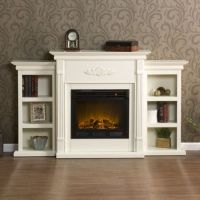 White Antique Wood Electric Fireplace Mantle Media Heater ...