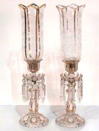 Pair Bohemian Glass Gilt Hurricane Candleholders | Mantle ...