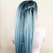 cool blue hair cute fashion