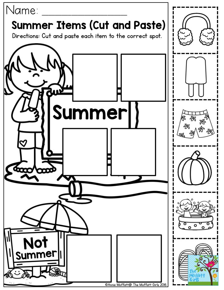 Summer Items- Cut and paste each item to the correct spot