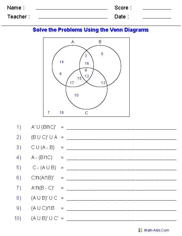 Venn Diagram Worksheets  Set Notation Problems Using Three Sets  Everything  Pinterest  Set