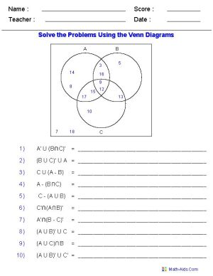 Venn Diagram Worksheets  Set Notation Problems Using