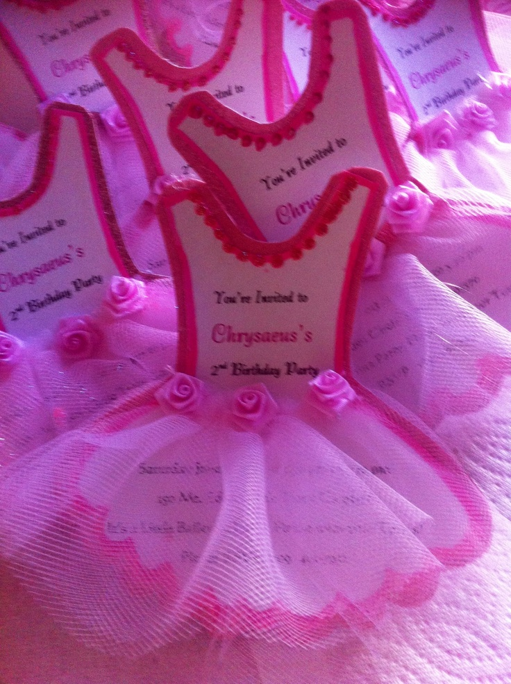 Ballerina Invitations Tutu Birthday Pinterest