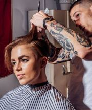 women heading barbershop