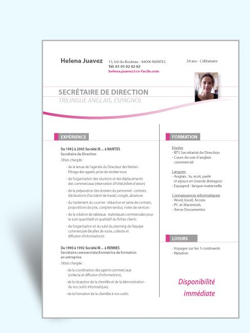 exemple site internet cv