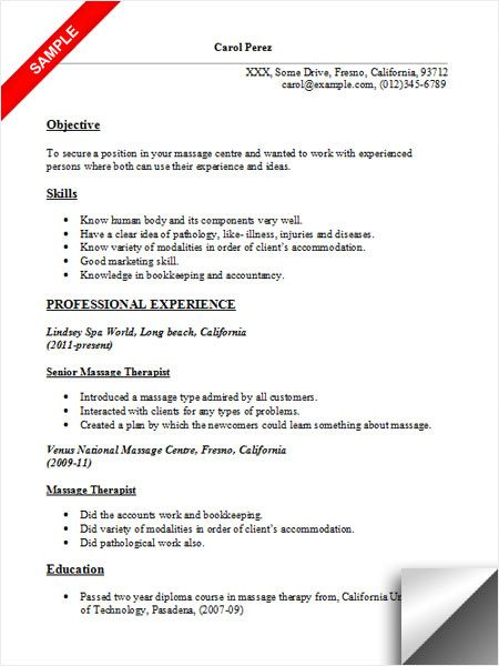 Massage Therapist Resume Sample Resume Examples Pinterest Massage And Resume