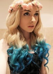 blue ombre dip dyed hair