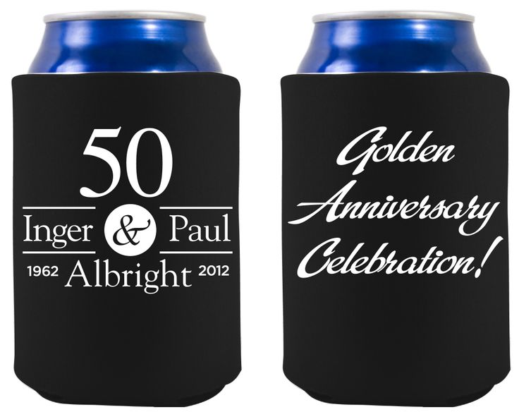 Front Amp Back Of Golden Anniversary Koozie 50th