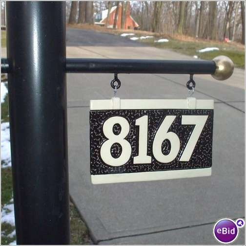 Lamp Post With Address Plaque. House Address Number Sign