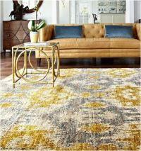 Yellow and gray rug and yellow/tan leather sofa Xavier ...