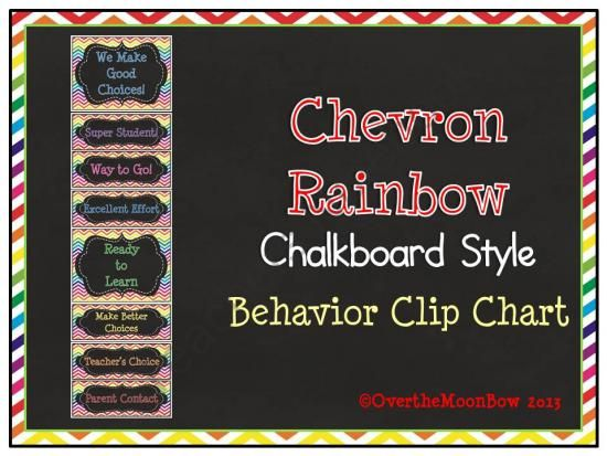 Chevron Rainbow Chalkboard Style Behavior Clip Chart From