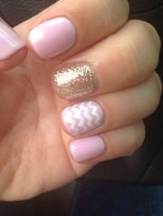 summer glitter pink chevron gel