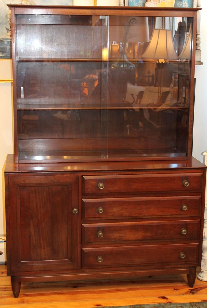 Mid Century Transitional Willett Solid Wildwood Cherry Buffet Hutch WGlass Cherries Buffet