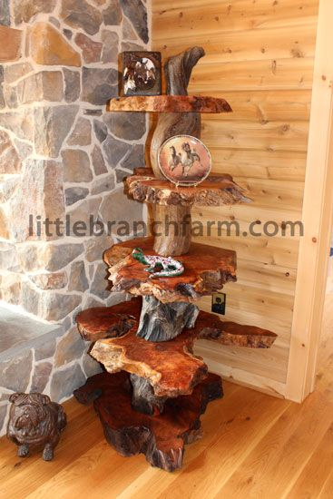 Live Edge Redwood Burl Accent Table With Twisted Driftwood