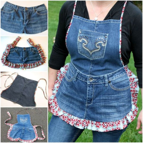 Make Denim Apron From Old Jeans....Easy DIY Recycling Projects. Its Time to Empty Your Recycle Bin. Part II #Diycrafts: