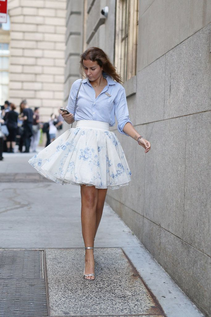Best #streetstyle @ Spring 2015 Ready-to-Wear #NYFW | a blue button-up shirt paired with a white tulle mini skirt and metallic ankle strap