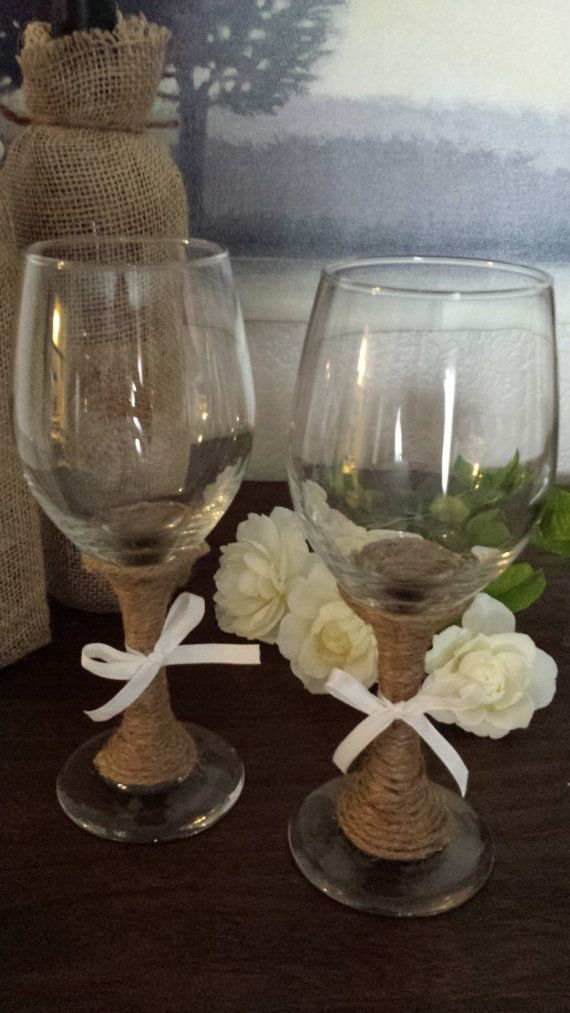 Set of wine glasses decorated with twine Perfect for a