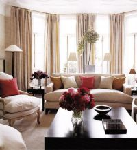 Beige and red living room- to coordinate with red kitchen ...