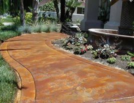Acid Washed Stained Concrete For Pathway Outside