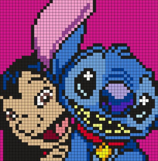 Lilo And Stitch Square Perler Bead Pattern Bead Sprite