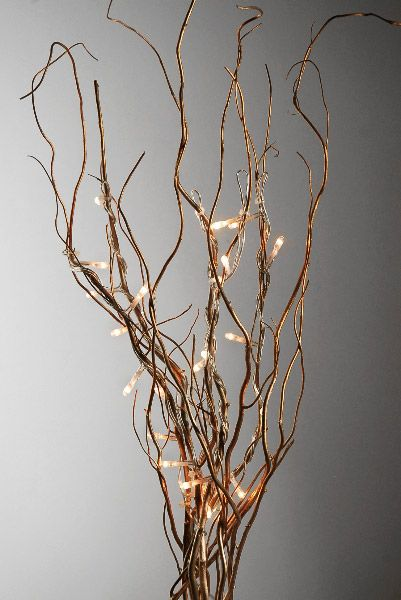 Branch Lights Gold Curly Willow With 25 Rice Lights Plug