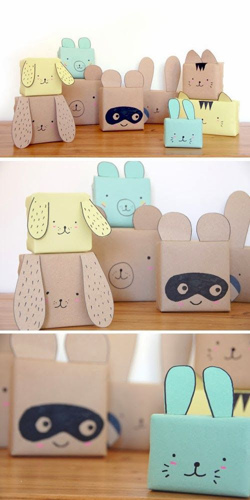 DIY: cute animal gift wrap for kids:
