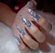 custom long silver glitter stiletto
