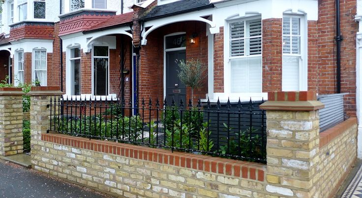 Yellow Brick Front Garden Wall With Rail Wimbledon London Front