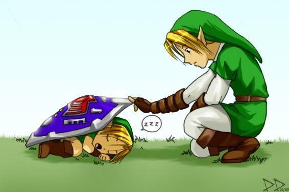Cute Little Link And Big Link From Ocarina Of Time The