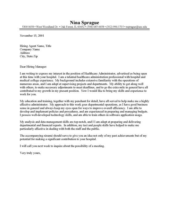 cover letter for healthcare administration position